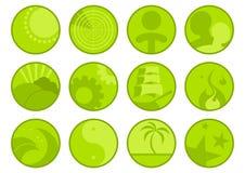 зеленые установленные иконы Стоковое Изображение