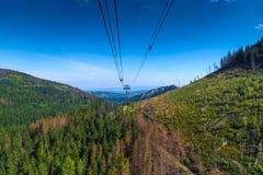 Зеленые холмы и фуникулярный кабель на солнечный летний день Стоковое Изображение RF