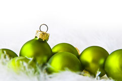 Зеленые шарики рождества Стоковое Изображение