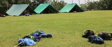 Зеленые шатры разведчика в луге Стоковое фото RF