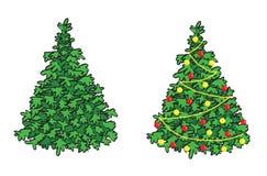 Зеленые fir-tree и ель с украшениями бесплатная иллюстрация