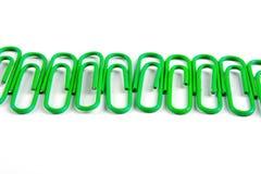 зеленые paperclips Стоковое Фото