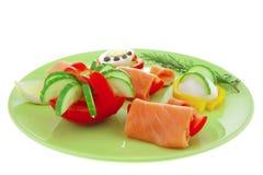 зеленые salmon курят ломтики, котор стоковые изображения rf