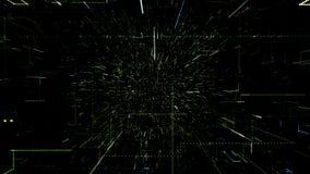 Зеленый абстрактный виртуальный космос летание иллюстрации 3d через тоннель цифровых данных бесплатная иллюстрация