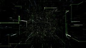 Зеленый абстрактный виртуальный космос летание иллюстрации 3d через тоннель цифровых данных иллюстрация вектора