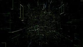 Зеленый абстрактный виртуальный космос летание иллюстрации 3d через тоннель цифровых данных иллюстрация штока