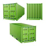 Зеленый вектор грузового контейнера 3D Концепция контейнера для перевозок перевозки Снабжение, насмешка транспорта вверх Изолиров иллюстрация штока