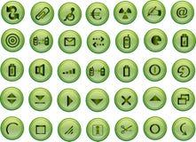 зеленый вектор икон Стоковая Фотография RF