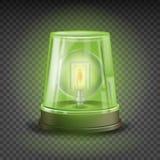Зеленый вектор сирены светосигнализатора реалистический объект Световой эффект Маяк вращения Предупреждение и непредвиденная проб Стоковые Изображения