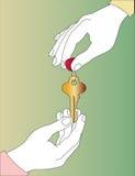 зеленый вручая ключ сверх Стоковое Фото