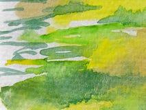 зеленый желтый цвет акварелей Стоковое фото RF