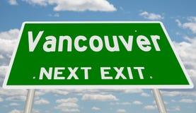 Зеленый знак шоссе для выхода Ванкувера следующего стоковое фото rf