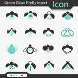 Зеленый значок насекомого светляка зарева - вектор Стоковая Фотография RF