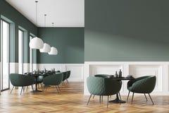 Зеленый и белый интерьер кафа, стена бесплатная иллюстрация