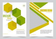 Зеленый и желтый дизайн рогульки шаблона брошюры иллюстрация штока
