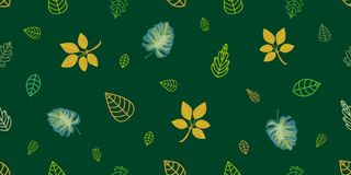 Зеленый и золотой оборачивать выходит на изумрудную предпосылку Стоковое фото RF