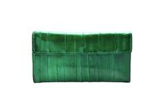 Зеленый кожаный бумажник Стоковая Фотография