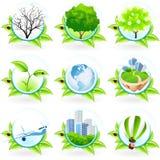 зеленый комплект иконы Стоковое Фото