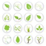 зеленый комплект иконы иллюстрация вектора