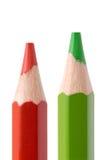 зеленый красный цвет карандаша Стоковое Изображение