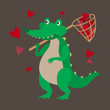 Зеленый крокодил улавливает сердца иллюстрация вектора