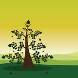Зеленый ландшафт пущи иллюстрация штока