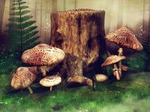 Зеленый луг с грибами и деревьями Стоковые Изображения
