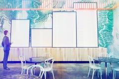 Зеленый мраморный ресторан стены, тонизированная галерея плаката Стоковое Фото