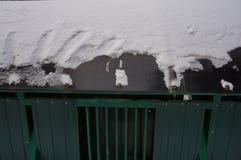 зеленый мусорный бак со снегом стоковое фото rf