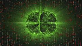 Зеленый накаляя мозг связанный проволокой на красной нервной поверхности или электронных проводниках иллюстрация вектора