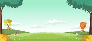 Зеленый парк с травой и деревьями Стоковая Фотография
