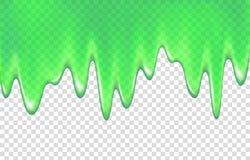 Зеленый потек шлама на прозрачной предпосылке иллюстрация штока