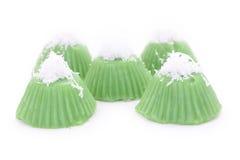 Зеленый пудинг помадки кокоса Стоковая Фотография