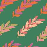 Зеленый розовый безшовный дизайн картины watercolour листьев иллюстрация вектора