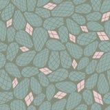 Зеленый розовый кактус выходит безшовная картина вектора повторения иллюстрация штока