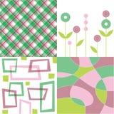 зеленый розовый квад шотландки ретро иллюстрация штока
