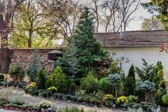Зеленый сад с birdhouse Стоковые Изображения RF