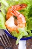 Зеленый салат с шримсами Стоковые Изображения RF