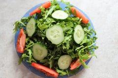 Зеленый свет и вкусный салат с arugula, огурцом и томатом стоковые фотографии rf