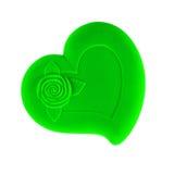 Зеленый сердц-форменный изолированный ларец Стоковые Фотографии RF
