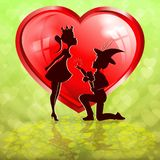 Зеленый состав с красными сердцем и силуэтами мальчика в шляпе и принцессе девушек бесплатная иллюстрация