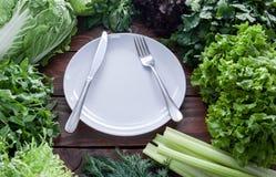 Зеленый, сочный салат выходит в ассортимент с вилкой и нож на белую плиту в разбивочном взгляд сверху стоковые фото