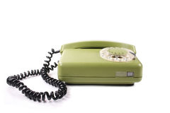 зеленый старый телефон Стоковое Фото