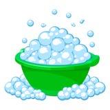 Зеленый таз с югами мыла иллюстрация штока