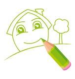 зеленый усмехаться дома бесплатная иллюстрация