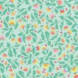 Зеленый цветочный узор народного искусства стоковые изображения rf