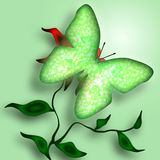 зеленый цвет бабочки декоративный Стоковое Изображение RF