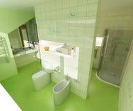 зеленый цвет ванной комнаты Стоковая Фотография