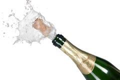 зеленый цвет взрыва пробочки шампанского бутылки Стоковые Фото