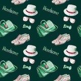 Зеленый цвет врачует сумку, стекла, кожаные ботинки balmoral пальца ноги крышки медальона, шляпу Панамы, смычок, безшовную картин бесплатная иллюстрация